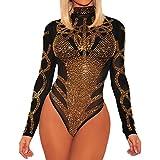 BarbedRose Women's Sexy Long Sleeve Mesh Bodycon Onesies Bodysuit Underwear,Black,L