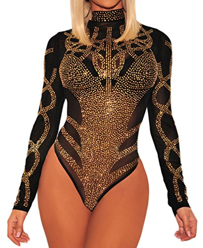 BarbedRose Women s Sexy Rhinestone Sheer Mesh Long Sleeves Bodysuit S-3XL 84fa7128e