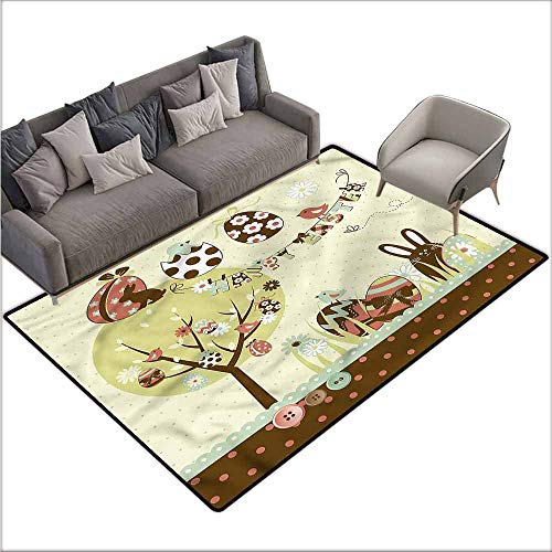 Anti-Slip Coffee Table Floor Mats Easter,Chocolate Rabbit Spring Tree 48