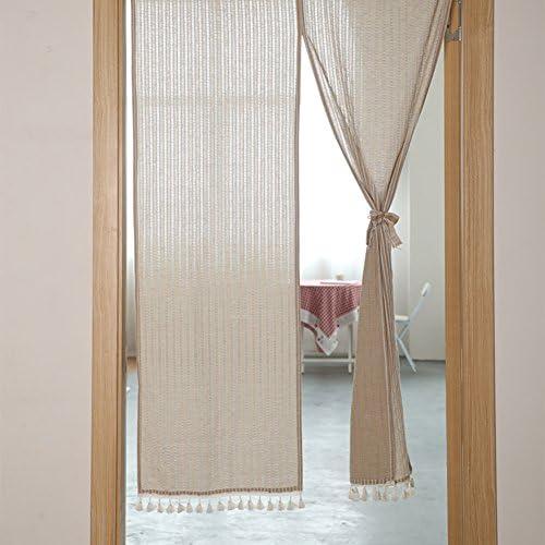 YHviking Home Half Curtain,Restaurant Door Curtain,Japanese Doorway Curtain Stop The Wind and dust for Bedroom Apartment Bathroom-Khaki 90x180cm 35x71inch