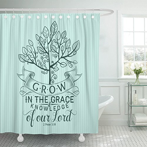 TOMPOP Shower Curtain Scripture Bible Lettering Christian Grow in the Grace and Knowledge of Our Lord 2 Peter 3 18 Quote Waterproof Polyester Fabric 72 x 72 inches Set with Hooks by TOMPOP