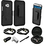 Mstechcorp - M9 Case, HTC One M9 Case Holster Transformer Slim Hard Shell [Shock-Absorption] [Kickstand Feature] [High Impact Resistant] - Black Dual Layer Armor Defender Full Body Protective Case Cover with Belt Swivel Clip for HTC One M9 - Includes [Car Charger With 2 Data Cable] + [Hands Free Earphone With Carrying Case] + [Touch Screen Stylus] (HOLSTER SHELL BK)
