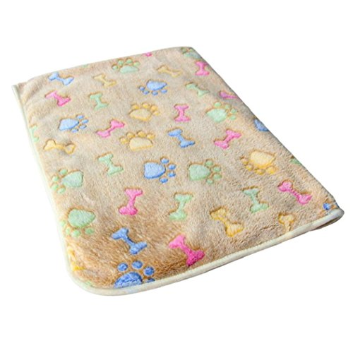 VIASA Soft Blanket With Coral Fleece Cover Pet Cat Mat Dog Doggy Warm Bed Mat Paw Print Cushion (L, Brown)