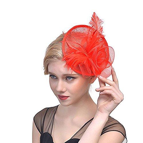 Hilary Ella Cocktail Feather Mesh Net Sinamay Fascinator Hat -