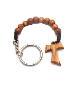 Tao de madera de olivo Tau dedo rosario llavero clave Anillo Cadena perlas de oración