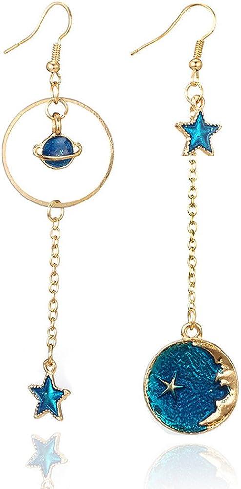 Fossrn Pendientes Mujer largos Brillantes Moda Azul Estrella lunar Pendientes Joyas
