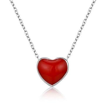695641b766787 Amazon.com: Slim Tiny Cute Small Red Heart Charm Pendant 925 ...