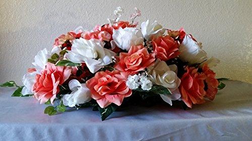 Coral Ivory Rose Hydrangea Head Table Flower Arrangement ...