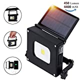 Solar Portable Rechargeable floodlight,LED work pocket light 10W mini ultrathin lamp Outdoor Traveling Camping Hiking Fishing 4400mAh battery 450 Lumen Emergency Lighting with Magnetic U-shape bracket