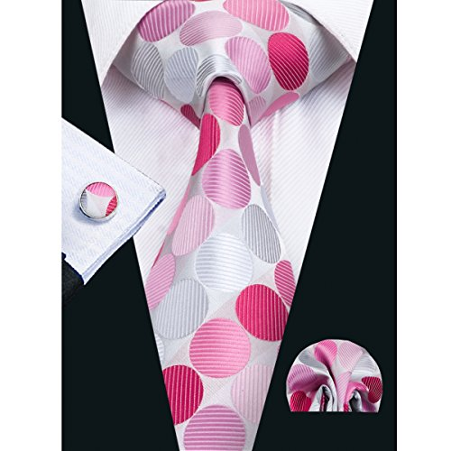 Barry.Wang Men's Pink Ties Polka Dot Tie New Fashion Necktie Set (Pink Silk Necktie)