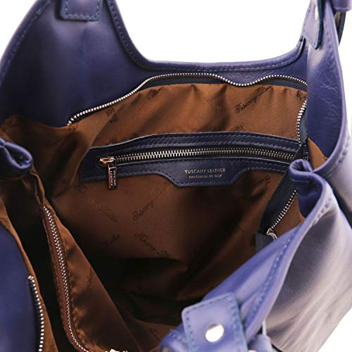 Leather Blue Dark Leather bag hobo Blue Dark Gina Tuscany vwfTnxw