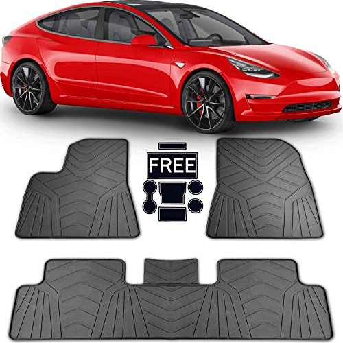 (PBC Products Tesla Model 3 All Weather Floor Mats 2017 2018 2019 with Cup Holder Mats Weatherproof Front and Rear Heavy Duty Latex Mat Set Car Accessories)