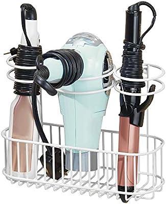 Organizador de ba/ño para secador Pr/áctico estante de ba/ño con 4 divisiones para art/ículos de peluquer/ía y 1 cesta mDesign Soporte de pared para secador de pelo plancha o rizador plateado