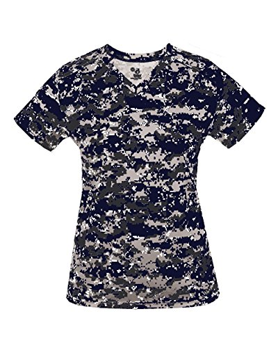 Ladies XL Navy Blue Digital Camo V-Neck Tee