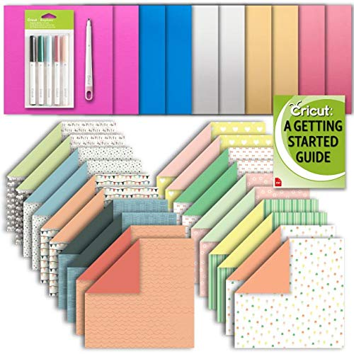 Cricut Machine Deluxe Patterned and Foil Paper, Scoring Stylus and Fine Point Pen Set ()