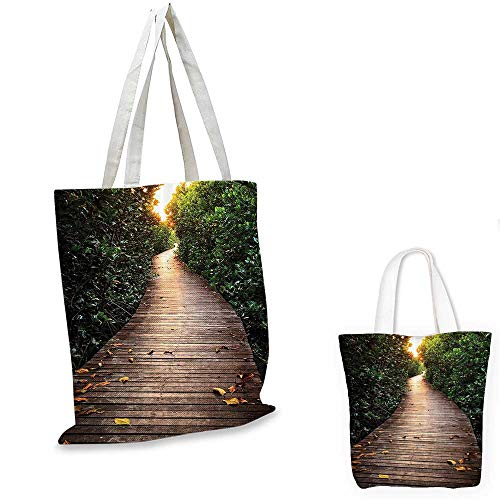 Outdoor Nature canvas messenger bag Boardwalk In Mangrove Forest Sunlight Tunnel Sunset Autumn Golden Leaves canvas beach bag Green Brown. 12