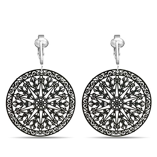 (Lovely Victorian Filigree Clip On Earrings for Women & Clip-ons, Lightweight Teardrop Leaf Dangle (Black Round))
