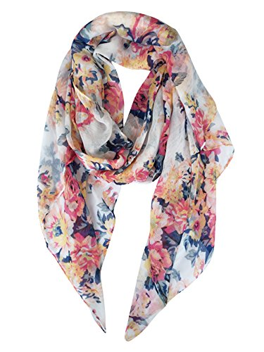 GERINLY Lightweight Scarves: Fashion Flowers Print Shawl Wrap For Women (White) - White Floral Scarf