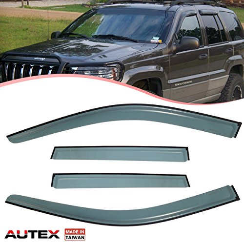 AUTEX 4Pcs Tape On Window Visor Deflector Compatible with Jeep Grand Cherokee 2011 2012 2013 2014 2015 2016 2017 Side Shade