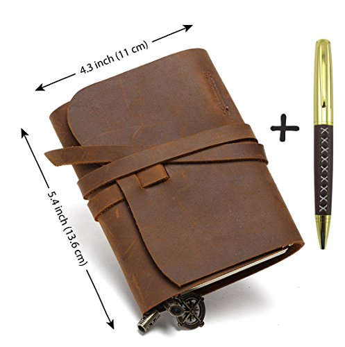 Small Pocket Refillable Leather Journal AND Stylish Pen – Refillable Passport Travelers Notebook 5.5×4.1 – Vintage Antique Genuine Leather Travel Di…