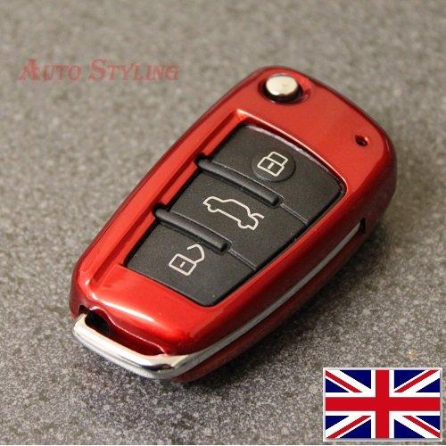 Red Fit For Audi 3 Button Key Cover A1 S1 A3 S3 RS3 A4 S4 RS4 A6 S6 RS6 Q2 Q3 Q7 TT TTS R8 Flip Case Remote Protector