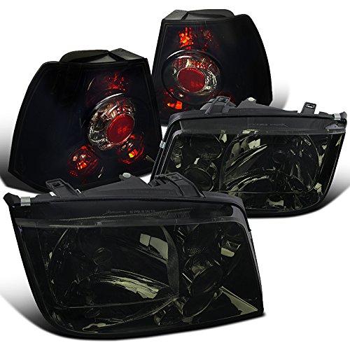 Smoke Headlights+Glossy Black Rear Tail Lamps (99 Vw Volkswagen Jetta Headlight)