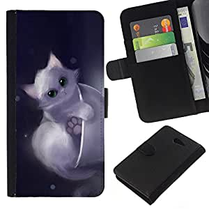 All Phone Most Case / Oferta Especial Cáscara Funda de cuero Monedero Cubierta de proteccion Caso / Wallet Case for Sony Xperia M2 // Cute Drawing Kitten Pet Sweet Furry