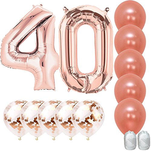 Jumbo 40 inch Mylar Foil Rose Gold Balloon Number 40, with 5 Confetti Balloons and 5 Rosegold Latex Balloons and Bonus String for Happy Birthday Party -