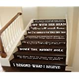 """GMDdecals® Alice In Wonderland Story Book Quote Set Vinyl Stair Decals or Wall Quote Decor Decals [GLOSSY WHITE]- 24"""" x 2-4"""" per quote -Adhesive High Glossy Vinyl [3mil] **Made In USA**"""