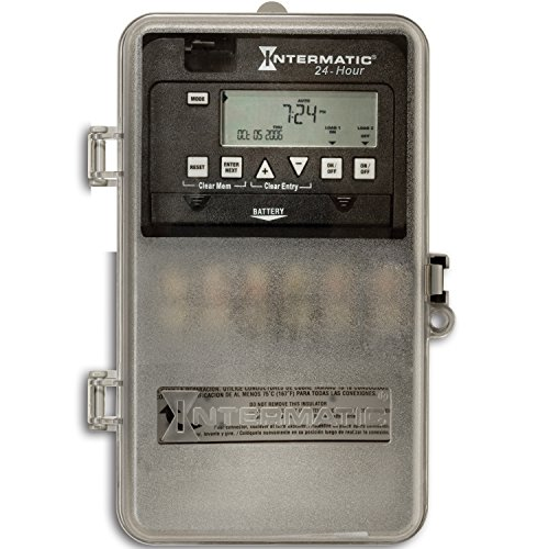Intermatic ET1125CPD82 24-Hour 30-Amp 2 Circuit SPST or DPST Electronic Time Switch, Clock Voltage 120-277 VAC, NEMA 3R Plastic Cover, 2-Circuit/30-Amp Rating, ()