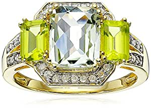 Sterling Silver with Yellow Gold Plated Green Amethyst, Peridot and Diamond Ring, Size 7
