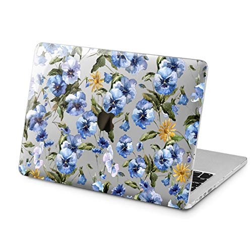 Lex Altern Clear Case for Apple MacBook Air 13 Mac Pro 15 inch Retina 12 11 2019 2018 2017 2016 2015 Blue Watercolor Pansy Flowers Meadow Pattern Cover Design Touch Bar Print Shell Protective Woman