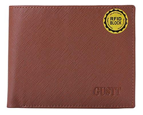 GUSTT® Fashion Men's Royal RFID Blocking Secure Genuine Leather Wallets (Brown-G03)