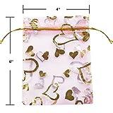 Wuligirl 100pcs 4x6 Drawstring Organza Jewelry