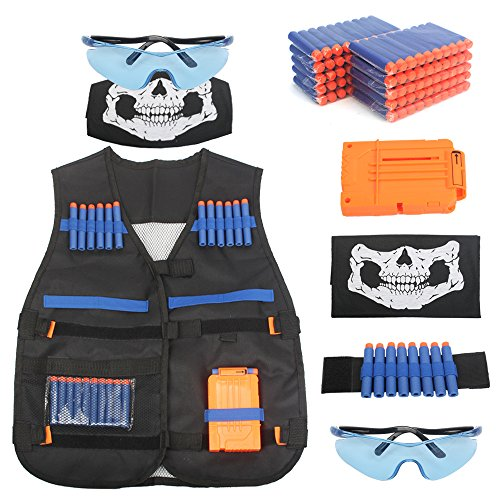 (AMOSTING Tactical Vest for Kids, Adjustable Tactical Vest Kit for Nerf N-Strike Elite Series Toy Guns with Reload Clip, Refill Darts, Vision Goggles, Skull Mask, Wrist Band)