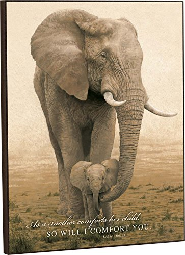 As a Mother Comforts Her Child Safari Elephants 16x12 Wall Mounted Printed Plaque