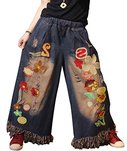 YESNO PEH Women Casual Loose Denim Pants Embroidered Jeans Distressed Ripped Tassels Wide Leg Pocket (L, PEH Blue)