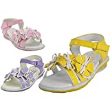 Wholesale Toddlers 3 Flower Top Sandals Colors: Yellow, Lilac & Pink (Assorted) Sizes: 4-9 - 24 Pairs