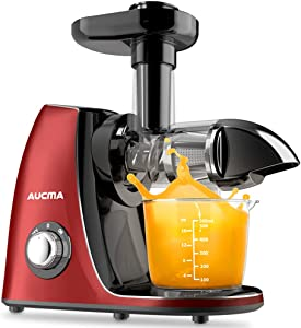 Cold Press Juicer, Aucma Slow Masticating Juicer Extractor Easy to Clean, Juicer Machines for Soft & Hard Vegetables and Fruits Juice with Reverse Function,Quiet Motor and BPA-Free Red