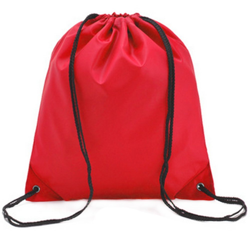 LAAT Waterproof Beach Bale Shoulder Sacks Drawstring Backpack Gym Rucksack Oxford Folding Bag for PE School Travel Sport (Red)