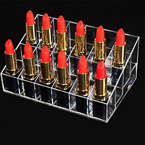 (AOLVO Liquid Lipstick Holder Organizer Case Clear 24 Slots Acrylic Finger Nail Polish Rack Stand Cosmetic Makeup Organizer Display Box for Nail Polish, Lipstick, Brushes, Bottles)