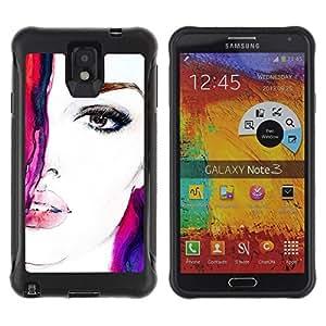 """Pulsar iFace Series Tpu silicona Carcasa Funda Case para SAMSUNG Galaxy Note 3 III / N9000 / N9005 , Cara de la acuarela de la mujer Chica Virgen Púrpura Rojo"""""""