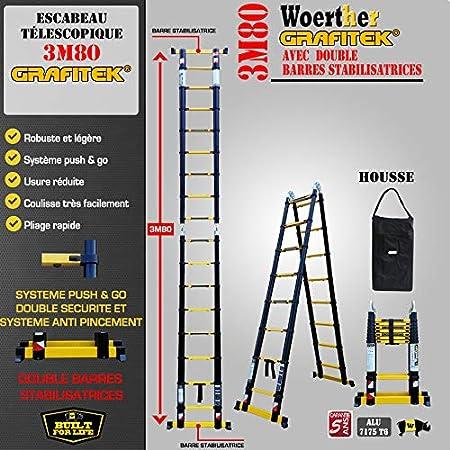Echelle t/élescopique 4 plans modulable en /échelle ou escabeau