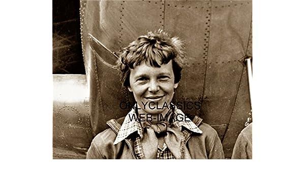 OnlyClassics 1935 Classy AVIATRIX Amelia Earhart 11x14 Photo Posing with Historic Airplane