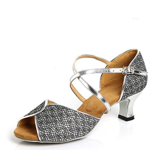 7 in Latin Erwachsenen Silver mit Tanzschuhe 5cm Leder das Schuhe WRtw8F6tqv