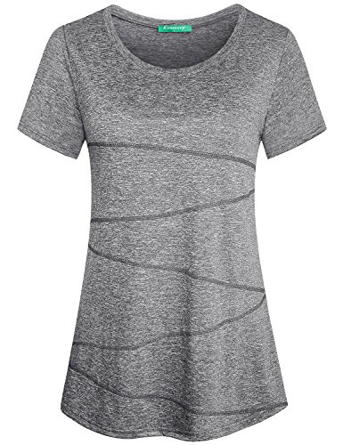 Kimmery Short Sleeve Tops for Women, Nice Top Round Neck Spandex Adult T Shirt Slim Fit Thin Smooth Material Quick Drying Running Training Workout Tunic for Ladies Light Grey Medium ()