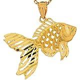 14k Real Yellow Gold 2.0cm Cute Filigree Goldfish Sea Life Charm Pendant