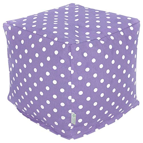 Majestic Home Goods Lavender Small Polka Dot Indoor Bean Bag Ottoman Pouf Cube 17