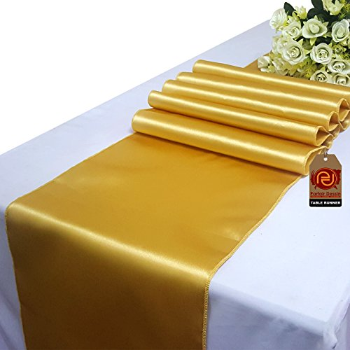 Parfair Dessin Satin Table Runners 12 x 108 inch for Wedding Banquet Reception Party Decoration, Bright Silk and Smooth Fabric Party Table Runner - Gold - Gold Polyester Satin