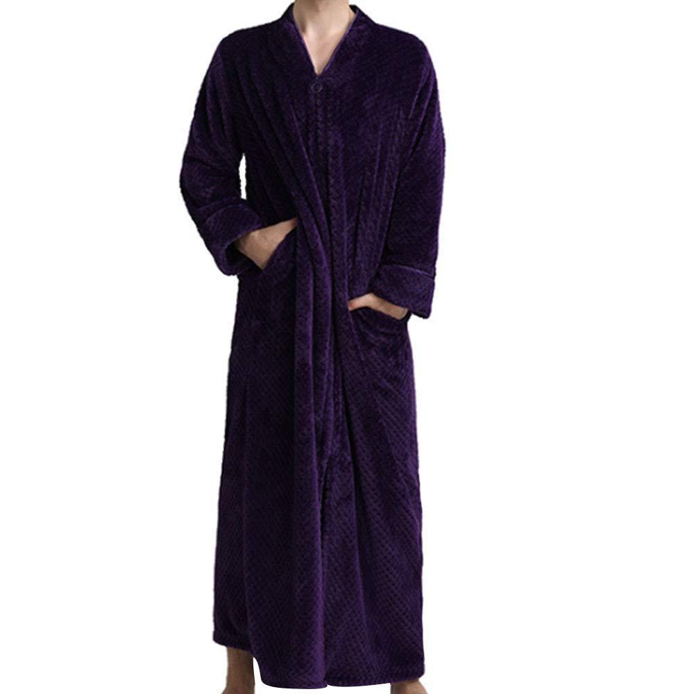 Mens Zip Up Front Flannel Bathrobe Waffle Plush Fleece Long Sleeve Loose Robes